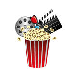 Pop corn, film production, film board and 3d glasses. Illustraction Stock Images