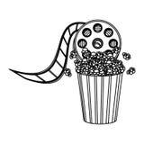 Pop corn with film production icon Stock Photo