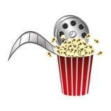 Pop corn with film production icon Stock Photos