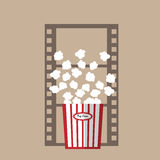 Pop corn film strip. Popcorn snack for movie vector Royalty Free Stock Images