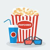 Pop corn glasses drink Royalty Free Stock Photos