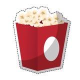 Pop corn icon. Box with pop corn icon over white background. colorful design.  illustration Stock Photo