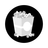 Pop corn icon. Box with pop corn icon over white background.  illustration Royalty Free Stock Image