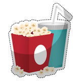 Pop corn icon. Box with pop corn and soft drink icon over white background. colorful design.  illustration Royalty Free Stock Photo
