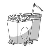Pop corn icon. Box with pop corn and soft drink icon over white background.  illustration Stock Image