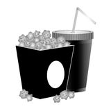 Pop corn icon. Box with pop corn and soft drink icon over white background.  illustration Royalty Free Stock Images