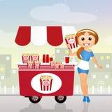 Pop corn. Illustration of girl and pop corn cart Royalty Free Stock Photos