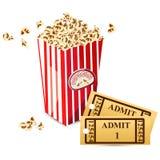 Pop Corn with Movie Ticket. Illustration of pop corn with pair of movie ticket Stock Image