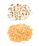 Pop corn, before and after pop. Ingredient and product Stock Photography