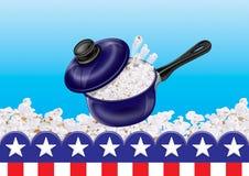 Pop corn pot. Illustration Pot and Popcorn frame vector illustration