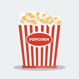 Pop corn in red box. Flat vector cartoon illustration. Objects  on a white background Royalty Free Stock Image