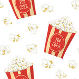 Pop Corn in a red stripped pack seamless pattern.  Flat vector f. Ood tile background. Popcorn wrapping paper texture Stock Image