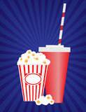 Pop Corn and soda container. Vector artwork on blue background Stock Photography
