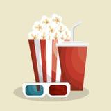 Pop corn with soda. Illustration design Royalty Free Stock Image