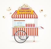 Pop Corn Street Vendor Mobile Store. Vector. Pop Corn Street Vendor Mobile Store Isolated on White Background. Vector illustration Stock Images
