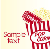 Pop corn with ticket. Pop corn and ticket with sample text background. vector Royalty Free Stock Photos