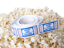 Pop Corn with tickets Royalty Free Stock Photos