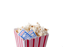Pop Corn with tickets. Isolated on pure white background Stock Photos