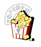 Pop corn. Vector illustration of box full of popcorn. Solid fill only no gradients, no gradient mech Stock Photo