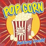 Pop corn vintage poster. Pop corn vintage grunge poster, vector illustration Stock Photos
