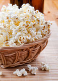 Pop corn in wickerwork Stock Photo