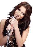 Pop female singer with the retro mic Stock Images