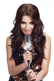Pop female singer with the retro mic Royalty Free Stock Photography