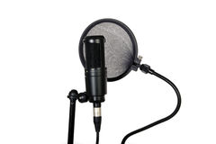 Pop filter and studio mic. Microphone and pop filter in sound studio on white background royalty free illustration