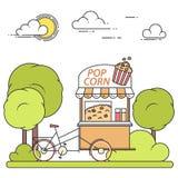 Pop graankar op wielen De zoete kiosk van het snackvoedsel in openbaar park Vector illustratie Vlak lijnart. vector illustratie