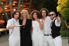 "The pop group ""Band`eros"". The photograph was taken at the international competition of young singers New Wave 2010 Dzintari Concert Hall, Jurmala Stock Photo"