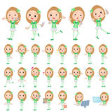 Pop idol in green costume. Set of various poses of Pop idol in green costume Royalty Free Stock Photo
