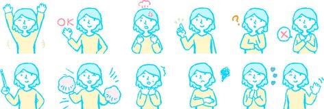 Pop Illustratie van een Hoger lichaam van vrouwengezicht en stelt reeks stock illustratie