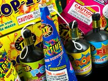 Pop Its and Party Poppers, Low Grade Fireworks Royalty Free Stock Image