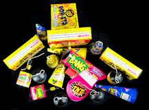 Pop Its and Party Poppers, Low Grade Fireworks.  stock images