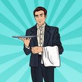 Pop Lege Dienblad van Art Professional Waiter Man Holding stock illustratie