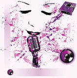 Pop music background. Abstract pop music background with purplish items including woman's face, a microphone, electronic equipment and disks.  Grunge design Royalty Free Stock Image