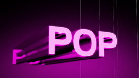 Pop Music Genre Header. In 3D animating in and rotating with a wireframe rotating background. Last 10 seconds loop. HD 1080i stock video footage