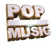 Pop music - Golden 3d logo Stock Images