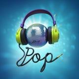 Pop music headphones. Headphones pop musical concept design Stock Image