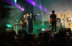 Pop music. Musicians perform pop music in a charity event in the city of Solo, Central Java, Indonesia Stock Image