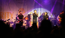 Pop music. Musicians perform pop music in a charity event in the city of Solo, Central Java, Indonesia Royalty Free Stock Images