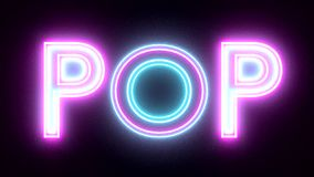 Pop neon sign lights logo text glowing multicolor stock footage