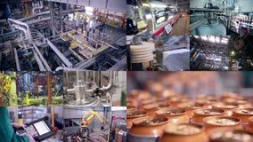 Pop och industriell produktionslinje för sodavatten Åtskilliga skärmar arkivfilmer