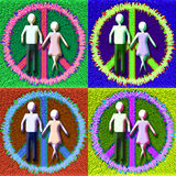 POP Peaceful Couple. Generic figures Man and Woman in a Peace sign Royalty Free Stock Photos