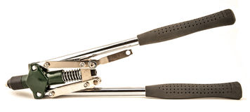Pop rivet gun. Wrench and Pop rivets on a white background Royalty Free Stock Image