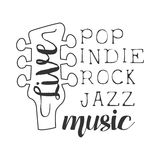 Pop, Rock, Indie, Jazz Live Music Concert Black And White Poster With Calligraphic Text And Guitar Headstock Stock Photos
