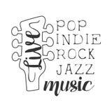 Pop, Rock, Indie, weißes Plakat Jazz Live Music Concert Black Ands mit kalligraphischem Text und Gitarren-Spindelkasten lizenzfreie abbildung