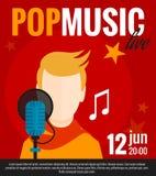 Pop Singer Flat Poster Royalty Free Stock Photos
