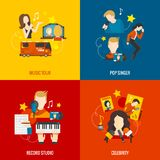 Pop Singer Flat Set Royalty Free Stock Images