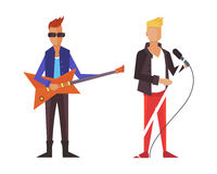 Pop singer Vector illustration flat isolated. Rock group Royalty Free Stock Images
